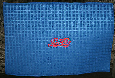 """Pepsi"" Microfiber Dish Drying Mat blue w/red thread machine embroidered"