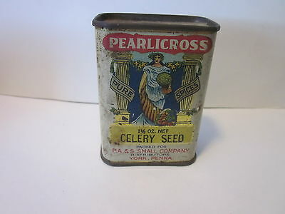 vintage very rare tin litho Pearlicross spice tin from P.A Small Co York PA