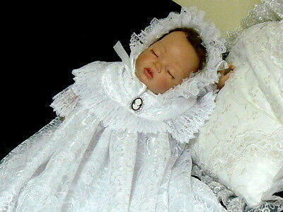Reborn Or Baby Gown White Lace Gown Victorian Wedding Baptism Size 0-3 Month