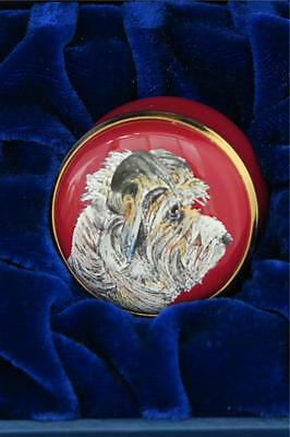 HALCYON DAYS SCRUFF the DOG CHRISSY WILSON PILL / TRINKET BOX boxed