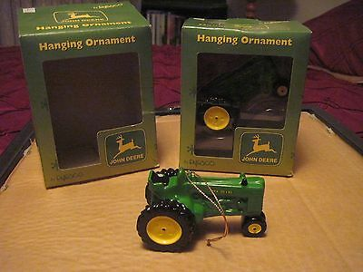 """Two John Deere Tractor Hanging Ornaments by Enesco..approx. 3 3/4"""" x 2 1/4""""tall"""