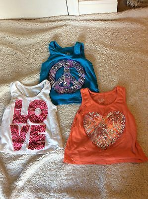Lot Of 3 Justice Sleeveless Shirts Tank Tops Size 8