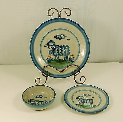 M A Hadley Pottery Sheep Pattern 1 Plate,1Saucer,1Bowl,1 cup