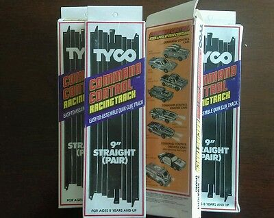 """4 boxes of 2, TYCO COMMAND CONTROL SLOTLESS  Racing Track 9"""" Straight Track 6432"""