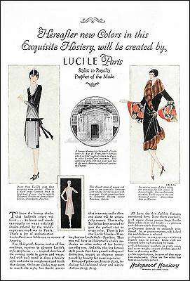 1927 Women's LUCILE PARIS FASHION Sketches Holeproof HOSIERY Vintage PRINT AD