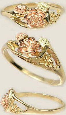 Handcrafted South Dakota Black Hills 12kt Gold Red Green Rose Ring Ancient Rome