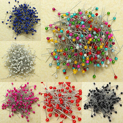 120pcs Round Pearl Colorful Corsage Pins Floral Heads Dress Making Craft Box