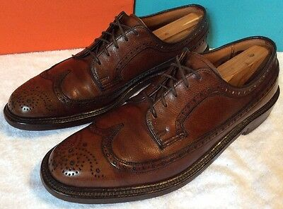"Vintage 1960's ""rutgers"" Union Made Wingtip Shoes 9.5  Brown Textured Leather"