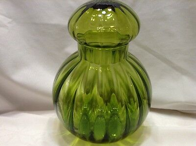 Vintage  Murano  Art Glass Lime Green Ribbed Style Cookie Biscuit Jar / Canister