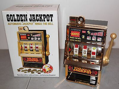 "12"" Vtg 1979 GOLDEN JACKPOT Mechanical SLOT MACHINE Toy (Waco, Japan) w/box"