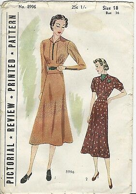 Vtg 1930's Pictorial Review PATTERN 8996 Tailored Frock Dress Bust 36 Uncut