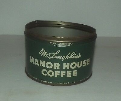 Neat Vintage Mclaughlin's Manor House Empty 1 Pound  Coffee Tin Chicago Ill