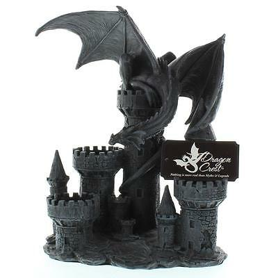 NEW Medievil Mythical Creatures Winged Dragon Castle Tower Statue Candle Holder