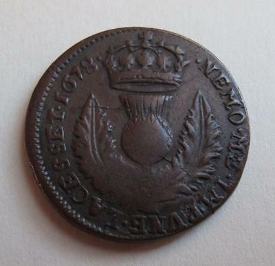 1678 Scotland 6 Pence Copper Coin Charles II Crowned Thistle Europe