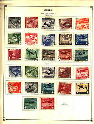 CHILE 1941-1959 Lot of 90 Stamps Collection on Scott Album Pages