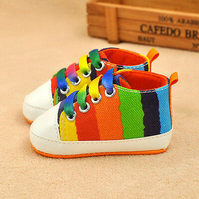 Infant Toddler Sneakers Baby Boy Girls Soft Crib Sports Striped Shoes 0-6 Months