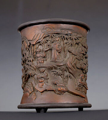 Excellent Old Chinese Hand Carving Bamboo Brush Pot US005