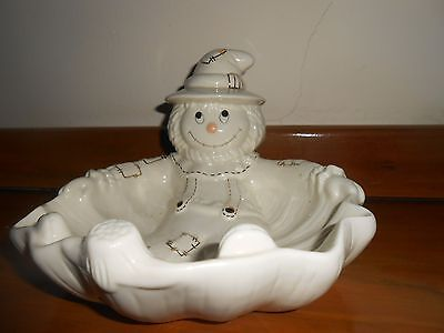 "Lenox Scarecrow Candy Dish  Cream / Ivory  7"" X 8""  Gold Mark"