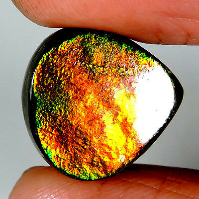 11.45cts 100% NATURAL EXCLUSIVE TOP QUALITY AMMOLITE HEART CABOCHON A+ GEMSTONE