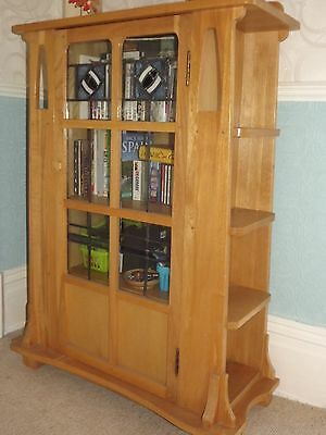 Arts Crafts Mackintosh Style Solid Pale Oak Bookcase Display Stained Glass Roses