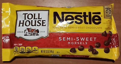 New  Nestle Toll House 100% Real Semi-Sweet Chocolate Morsels 12 Oz Bag Chips