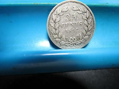 1892 - Netherlands - 25 Cent  - Silver                    (C80)