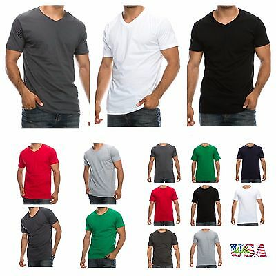 1-3-6 PACK Men's T-Shirt Lot Plain V-Neck Crew Neck Slim Fit Fashion Casual Tee