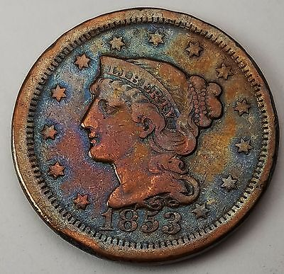 1853 BRAIDED HAIR LARGE CENT  XF Monster Rainbow Tone Beautiful Coin 224