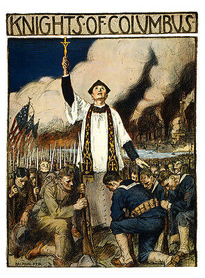 Antique Knights of Columbus Art Print Poster huge 12x18 Military vets