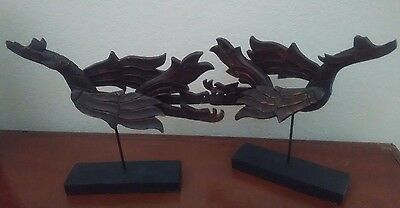 Wood Dragon Decorative Figuerine Set of Two
