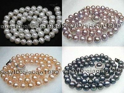 wholesale 10 strands 7-8mm white pink purple black genuine pearl necklace
