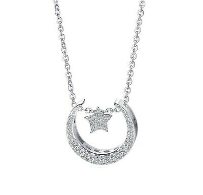"""Sterling Silver Moon Star Cubic Zirconia Pendant Necklace 18"""" Chain Gift Box E11"""