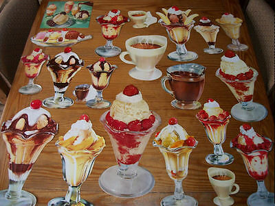20 Vintage Original Different PAPER DIE CUT ICE CREAM SODA FOUNTAIN Poster Signs
