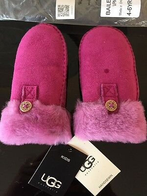 UGG Shearling Sheepskin Kids Girls Bailey Mittens Gloves Pink 4-6 years NWT
