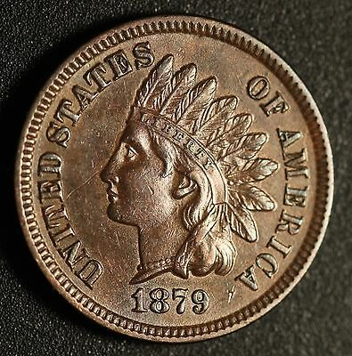 1879 INDIAN HEAD CENT - With LIBERTY & Near 4 DIAMONDS - AU UNC