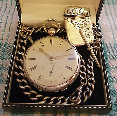 1859,Fusee Pocket Watch,Liverpool Jewelling,Gold Hinges.925 Albert Chain & Vesta