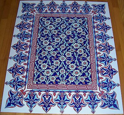 "Blue & Red Border 40""x32"" Turkish Iznik Floral Raised Ceramic Tile Mural Panel"