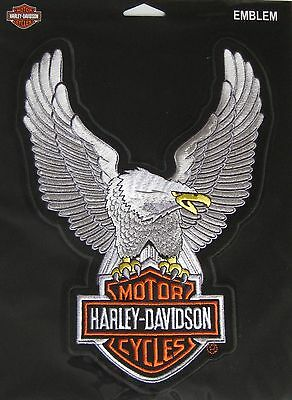"""Harley Davidson Up Wing Eagle Silver Patch Large 10.5 X 7 3/4"""""""