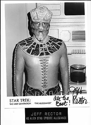 Jeff Rector, Star Trek Ng, Hand Signed B&w Photocard, With Metal Name Plate
