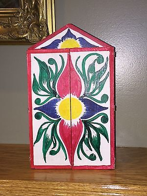 Vintage Hand Crafted Nativity Scene – Painted Art Design Wood Cabinet – Peru
