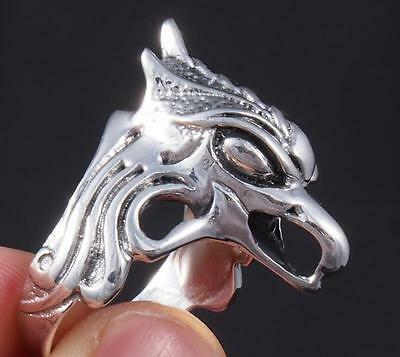 Huge Phoenix Tribal Fire Rebirth Bird Head 925 Sterling Solid Silver Mens Ring