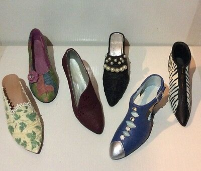 Lot of 6 Raine Just the Right Shoe & My Treasure miniature Resin Shoe Figurines