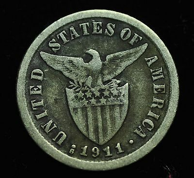 1911s US-Philippines 10 centavos Silver Coin - lot #1