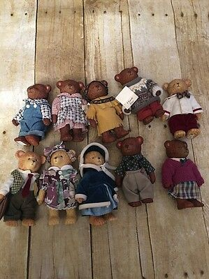 "Russ 4.5"" Hard Plastic Jointed Teddy Bear Lot 10 Vintage Collectible Toys"