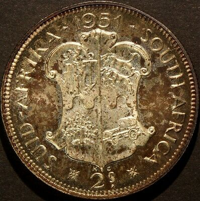 South Africa 1951 2 Shillings Toned Proof