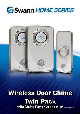 Swann Twin Pack Wireless Door Chime/Door Bell with Mains Power SWHOM-DC820P2
