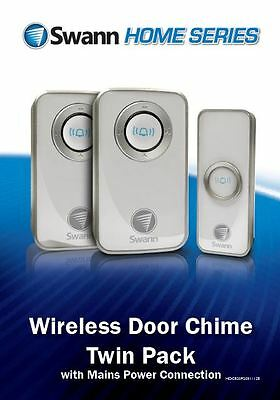 2 X Swann Twin Pack Wireless Door Chime/Door Bell with Mains Power SWHOM-DC820P2
