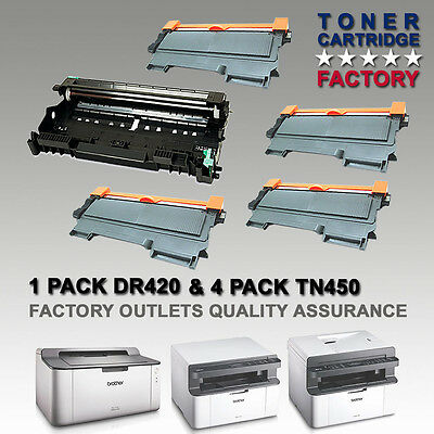 4PK TN450 Toner + 1PK DR420 TN420 Drum For BROTHER DCP7060D DCP7065DN MFC-7860DW