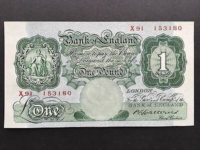 Great Britain Bank England 1 One Pound B225 No. X91 153180 Signed Catterns UNC