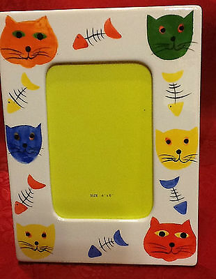 Ceramic Cat Picture Frame Holds 4X6 Photo